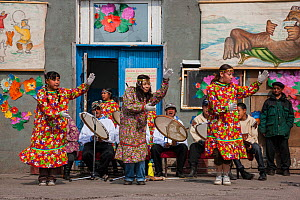 Young native people perform traditional dances in the Village of Uelen, coastal Chukotka, Siberia, Russia.  -  Jenny E. Ross