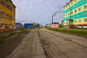 View of the main street in Provideniya, Russia. Provideniya is situated at the edge of Komsoloskaya Bay, Bering Sea, Russia.  -  Jenny E. Ross