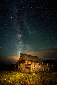 Milky Way over the Moulton Barn in Grand Teton National Park, Wyoming, USA. July 2015.  -  Jeff Vanuga