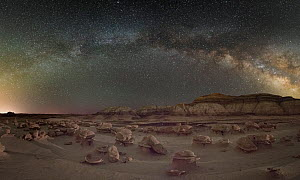 Alien Eggs rock formations under the Milky Way. Bisti / De-Na-Zin Wilderness Area of New Mexico  -  Jeff Vanuga
