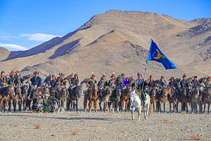 Opening ceremony, at the Eagle Hunters festival near Ulgii, Western Mongolia.  -  Jeff Foott