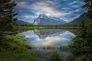 Snow capped Mount Rundle and surrounding forests reflected in Vermillion Lakes. Banff National Park, Alberta, Canada. June 2018.  -  Guy Edwardes
