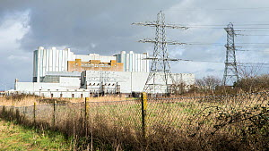 Oldbury nuclear power station, now disused, sited on Severn Estuary at Olbury-on-Severn near Bristol, UK, March 2020,  -  John Waters
