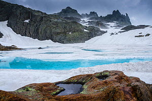 Ice in a mountain lake. Aiguilles Rouges Reserve, Alps, France, July.  -  Remi Masson