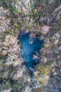 Aerial view of a Karst spring, Marais de Lavours Reserve, Ain, Alps, France, November.  -  Remi Masson