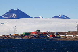 Mawson station with Mount Henderson in the background, Antarctica February 2010  -  Fred Olivier