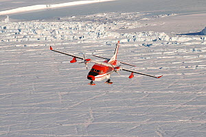 CASA plane transiting above Sorsdal Glacier, Antarctica November 2005  -  Fred Olivier