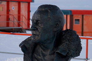 Paul Emile Victor, originator of French Antarctic expeditions, bust at Dumont d'Urville station , Antarctica October. 2012  -  Fred Olivier
