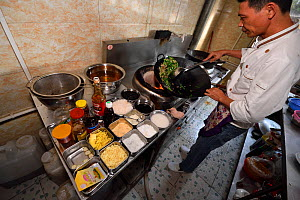 Restaurant cooking lunch meal, Xu Wen, Guangdong province, China November 2015.  -  Staffan Widstrand / Wild Wonders of China