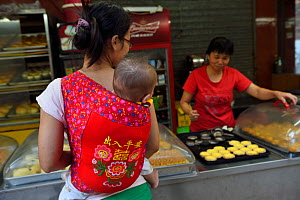 Mother and baby out shopping and walking in the street, Old Julong village, Guangzhou, Guangdong, China November 2015.  -  Staffan Widstrand / Wild Wonders of China