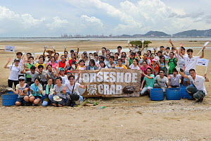 Horseshoe crab release event oragnized by Ocean Park Conservation Foundation, Hak Pak Nai beach, Yue Long, Hong Kong, China  -  Wayne Wu Ying / Wild Wonders of China
