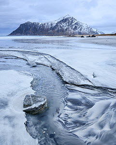 Melt water, Skagsanden, Lofoten, Norway, February 2017.  -  Niall Benvie