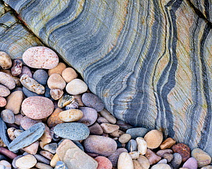 RF - Slate and pebbles, near Kintra, Islay, Argyll, Scotland, UK. November.(This image may be licensed either as rights managed or royalty free.)  -  Niall Benvie