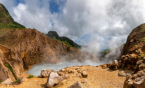 Steam and gases rising from Boiling Lake, a water filled fumarole on active volcano. Morne Trois Pitons National Park, Dominica, Lesser Antilles. 2020.  -  Derek Galon