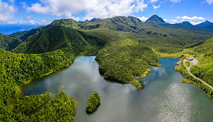 Freshwater Lake surrounded by cloud forest, in mountains at approximately 2500 feet, aerial view. Dominica, Lesser Antilles. 2020.  -  Derek Galon