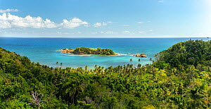 View across rainforest to sea, rock island protects coral reefs from full force of Atlantic. Bay View near Calibishie, Dominica, Lesser Antilles. 2020.  -  Derek Galon