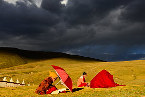 Buddhist novices studying and reciting mantas, in steppe under stormy sky. Ganden Thubchen Choekhorling Monastery, Litang, Garze Tibetan Autonomous Prefecture, Sichuan, China. October 2016.  -  Enrique Lopez-Tapia