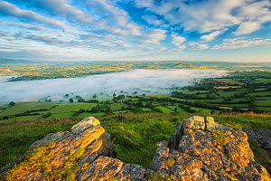 Morning mist over Llangors and Llangors Lake, view from Mynydd Llangorse, Brecon Beacons National Park, Wales, UK. June 2014.  -  Guy Edwardes
