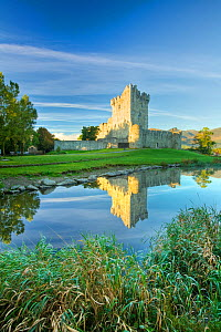 Ross Castle reflected in Lough Leane. Killarney National Park, County Kerry, Ireland. September 2007.  -  Guy Edwardes