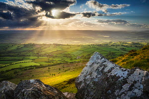 Sunset from Mynydd Troed, Black Mountains, Brecon Beacons National Park, Powys, Wales, UK. May.  -  Guy Edwardes
