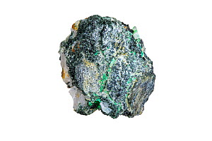 Malachite, copper carbonate hydroxide mineral, found in Vielsalm, Belgium against white background  -  Philippe Clement