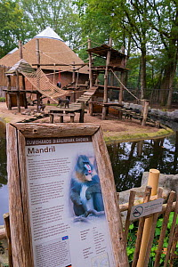 Zoo sign about Mandrills (Mandrillus sphinx) in front of the enclosure, Ouwehands Zoo, Rhenen, The Netherlands.  -  Edwin Giesbers
