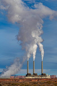 Smoke rising from chimneys of coal fired power plant. Page, Coconino County, Arizona, USA. December 2018.  -  Jeff Foott