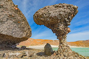 El Hongo rock formation with mushroom appearance on coast. Puerto Balandra, near La Paz, Baja California Sur, Mexico. 2013.  -  Jeff Foott