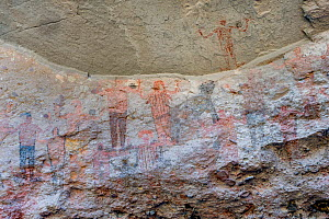 Pictographs depicting people with arms in air and animal, possibly a Coyote. Dating from 10,000 years ago. El Palmarito cave paintings, Sierra de San Francisco, El Vizcaino Biosphere Reserve, Baja Cal...  -  Jeff Foott