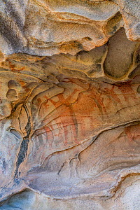 Cave with pictographs depicting people with arms spread dating from 10,000 years ago. El Vizcaino Biosphere Reserve, Baja California Sur, Mexico. 2020.  -  Jeff Foott