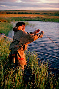 Sasha Serotetto, a Nenets reindeer herder, sets a fishing net on a tundra pond. Yamal. Siberia. Russia. 1993.  -  Bryan and Cherry Alexander