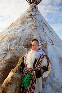 Neseynya Serotetto, a Nenets woman, dressed in a traditional reindeer skin clothing. She has a university degree in cultural anthropology and now manages the Eagle Ethnic Camp at her home village of Y...  -  Bryan and Cherry Alexander