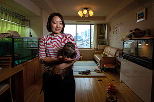 Takechiyo, a pet Asian small-clawed otter (Aonyx cinereus) with his owner Ayako Higuchi at her apartment block in the Minato district of Tokyo, Japan. March 2019. Mandatory credit: Aaron Gekoski /...  -  Aaron Gekoski / World Animal Protection