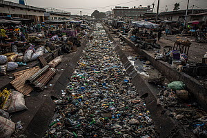 Heavily polluted river running through a voodoo market in Cotonou, Benin, West Africa. January 2020. Mandatory credit: Aaron Gekoski / World Animal Protection / naturepl.com. NO DOWNLOAD WITHOUT P...  -  Aaron Gekoski / World Animal Protection