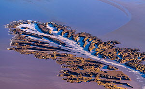 Aerial view of alluvial patterns in tidal mudflats of Colorado River Delta, where there is tidal encroachment from the Gulf of California. Waterfalls approximately 8 feet high pour off the delta with...  -  Jack Dykinga