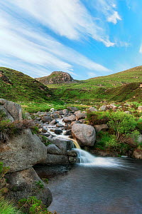 Waterfall on Annalong River, Eagle Rock in background. Mourne Mountains, County Down, Northern Ireland, UK. June 2020.  -  Robert  Thompson
