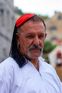 Man in traditional dress at Alka commemorations, portrait. Held on the first Sunday in August since 1715 the Alka commemorates the victory of Christians over Ottoman Turks. Inscribed on UNESCO Intangi...  -  Kristel Richard