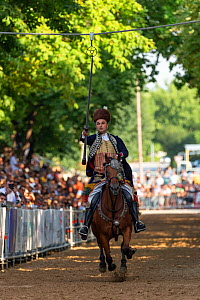 Man on horseback in traditional dress participating in Alka tournament, crowd spectating in background. Held on the first Sunday in August since 1715 the Alka commemorates the victory of Christians ov...  -  Kristel Richard