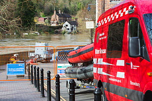 Fire and rescue service vehicle and equipment beside River Severn in flood conditions. After Storm Ciara and Storm Dennis, the wettest February recorded in the UK. Ironbridge, Shropshire, England, UK....  -  Ashley Cooper