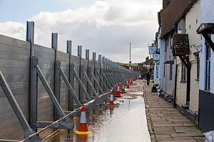 Flood defences holding back River Severn floodwaters along street in Bewdley. The river overtopped the barriers after Storm Ciara and Storm Dennis, the wettest February recorded in the UK. Worcestersh...  -  Ashley Cooper