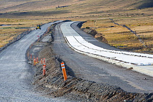 Road building in steppe between Cerro Castillo and Torres del Paine National Park to cope with increased tourism, concrete replacing gravel road. Patagonia, Chile. January 2020.  -  Ashley Cooper