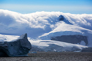 Snow covered mountains at edge of Lallemand Fjord, until recently large parts of the fjord were covered by the Muller ice shelf which collapsed due to climate change. Crystal Sound, Antarctic Peninsul...  -  Ashley Cooper