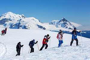 Tourists from expedition cruise ship snow shoeing up slope, mountains and Southern Ocean in background. Orne Harbour, Danco Coast, Graham Land, Antarctica. December 2019.  -  Ashley Cooper