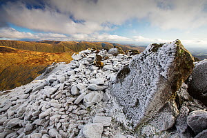 Hoar frost on rocks, view from Red Screes towards Kentmere Fells. Lake District National Park, England, UK. November 2019.  -  Ashley Cooper