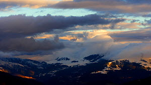 Timelapse of clouds moving over mountains, Pyrenees, Spain, February.  -  David Perpinan