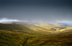 Incised river valley within glacial valley. Near Brecon, Brecon Beacons National Park, Wales, UK. September 2017.  -  Graham Eaton