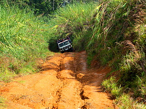 Jeep on rutted dirt road through montane rainforest. Eastern Highlands, Papua New Guinea. 2019.  -  Konrad Wothe