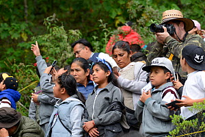 Children visiting the Monarch butterfly reserve at Sierra Chincua Sanctuary, Mexico.  -  Patricio Robles Gil