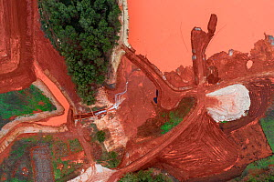 Aerial view of red mud / alumina storage facility located in valley between hills. Alumina is a highly alkaline waste product from the aluminium industry. south France.  -  Milan Radisics