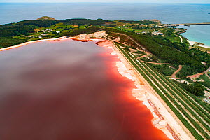 Aerial view of red mud / alumina deposits, where with a highly alkaline waste product produced by the industrial production of aluminium is stored. Located on seashore in Galicia, Northern Spain.  -  Milan Radisics